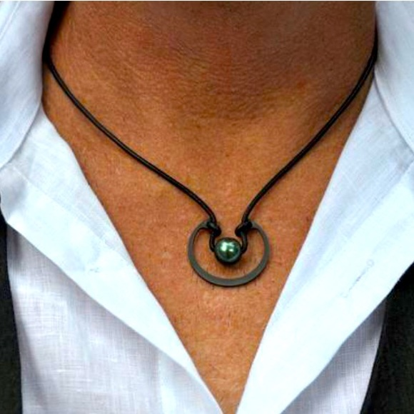 Leather Tahitian Pearl Necklace